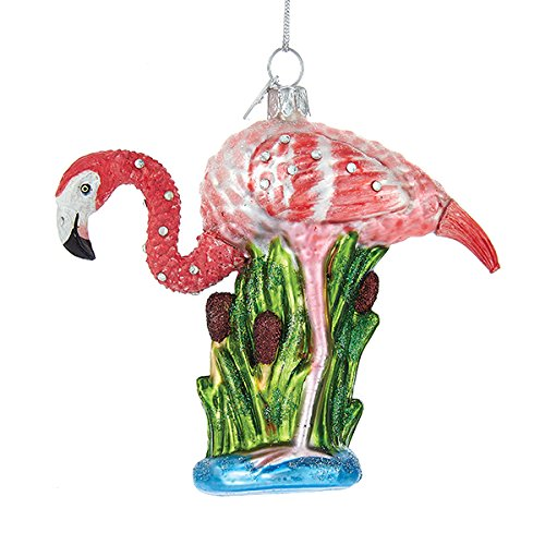 Kurt Adler 3 875″ Noble Gems Glass Flamingo Ornament