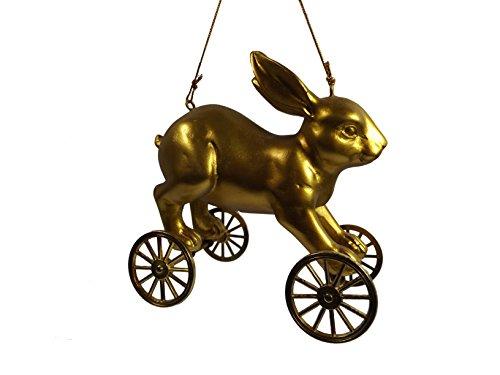 Gold Rabbit Farm Animal On Wheels Farmhouse Resin Pull Toy Christmas Ornament