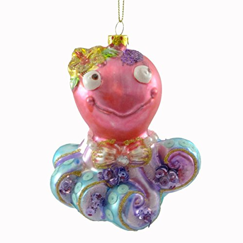 Holiday Ornament OCTOPUS W/ FLOWER BOW ORNAMENT Glass Fish Sea Christmas Glass TC5571