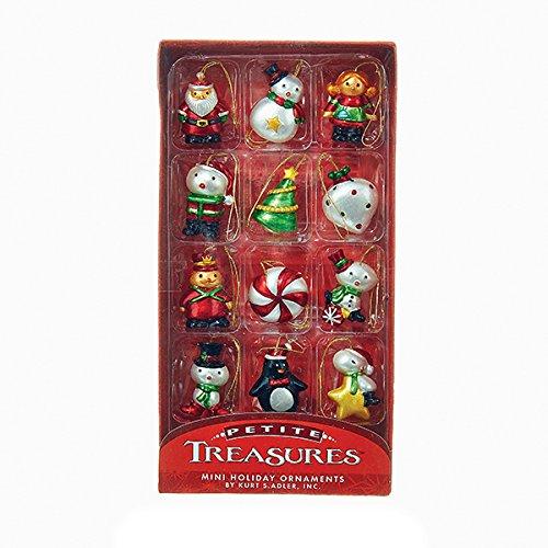 Kurt Adler 1.25-Inch Glass Petite Treasures Miniature Ornament Set, 12 Pieces
