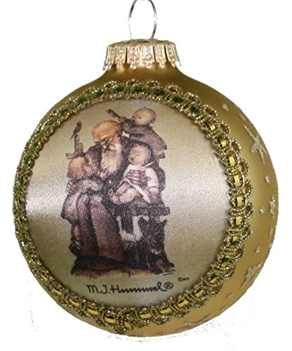 Krebs Glass Ball with Hummel Silk Picture Ornament (H152 Grandpa's Helper)