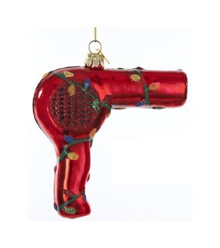Kurt Adler Noble Gems Red Hair Dryer With Christmas Lights Ornament