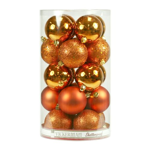 Vickerman 4 Finish Ornaments, 3-Inch, Burnished Orange, 16-Pack