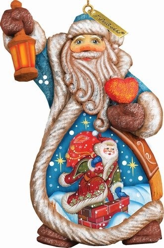 G. Debrekht Santa Naughty Or Nice Ornament Figurine with Scenic Painting, 5″