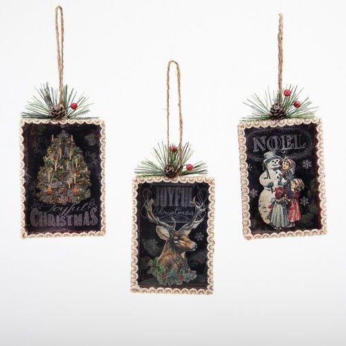 Chalkboard Shadow Box Ornaments Set of 3 Christmas New