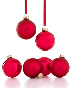 Holiday Lane Set of 6 Red Ball Ornaments