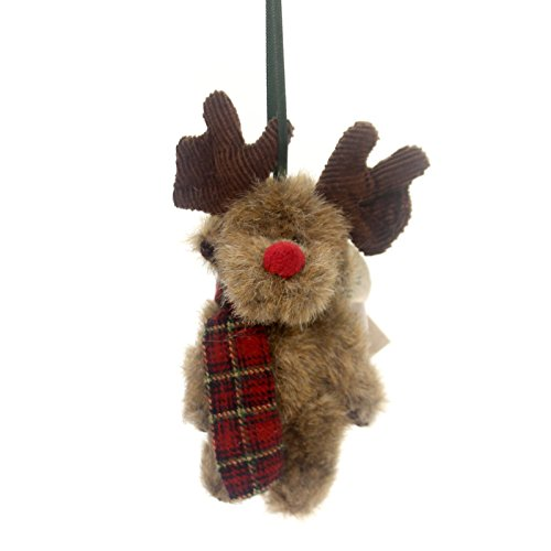 Boyds Bears Plush MO MOOSETOES ORNAMENT Fabric Antlers Red Nose Jointed 562650