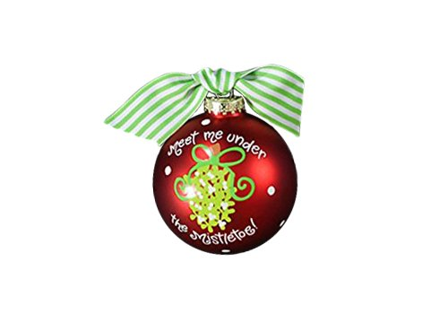 Coton Colors Meet Me Under the Mistletoe Glass Ornament