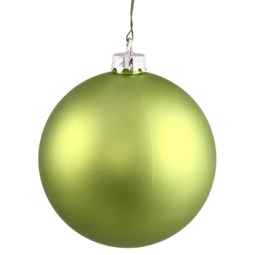 Vickerman Matte Finish Seamless Shatterproof Christmas Ball Ornament, UV Resistant with Drilled Cap, 6 per Bag, 4″, Lime