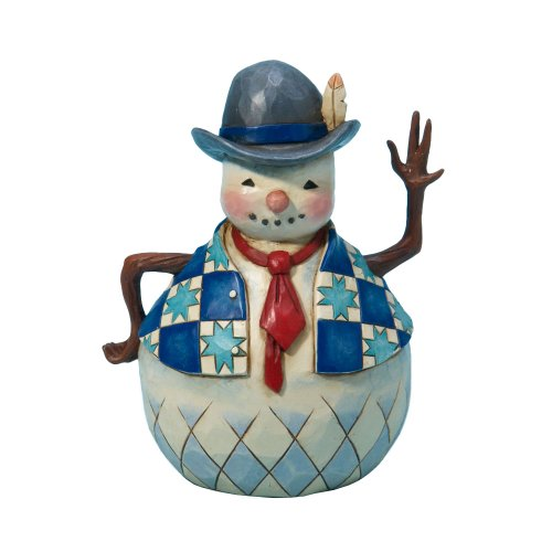 Jim Shore Heartwood Creek from Enesco Small Snowman with Tie Figurine 4.75 IN
