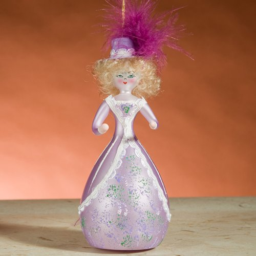 De Carlini Irene Adler in Pink Dress and Hat with Feather Italian Mouthblown Glass Christmas Ornament with Hat