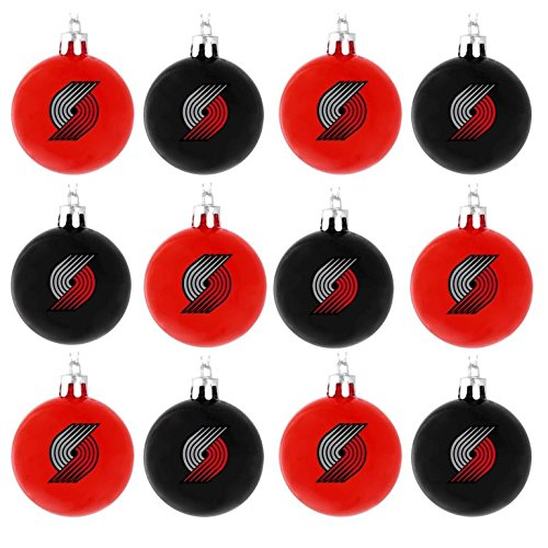 NBA Basketball Plastic Ball Holiday Tree Ornament Set (12 Pack) – Pick Team (Portland Trailblazers)