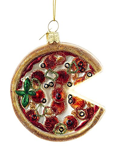 Kurt Adler 3.25-inch Noble Gems Glass Pizza Pie Ornament