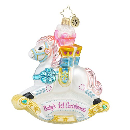 Christopher Radko Rockin' Newborn Rocking Horse Baby's First Christmas Glass Christmas Ornament – 4.5″h.
