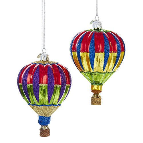 Kurt Adler 2 Assorted Multi-colored Hot Air Balloon Glass Noble Gems Christmas Ornaments