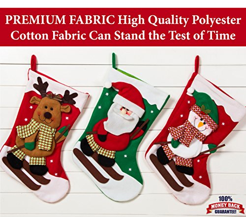 Handmade Set of 3 20″ Polyester Cotton Fabric Christmas Stockings By Better Line
