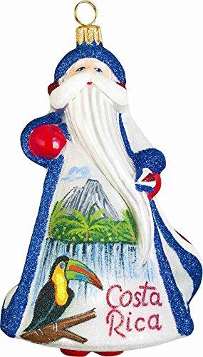 Glitterazzi Costa Rica Santa Polish Glass Christmas Tree Ornament Decoration New