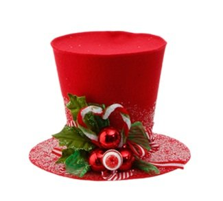RAZ Imports – 5″ Decorative Red Holly Top Hat
