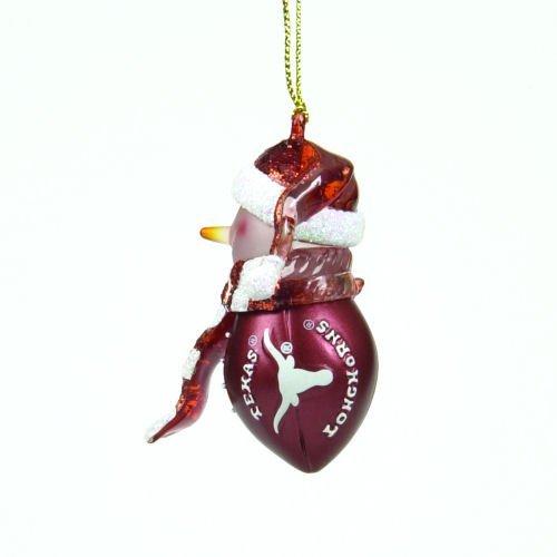 Texas Longhorns Striped Snowman Football Christmas Ornament