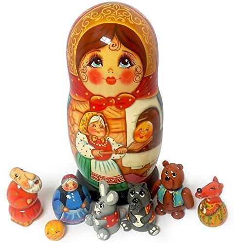 Wooden Nesting Doll and Animal Figurines – The Little Round Bun Fairytale Set of Handmade Souvenir 8 Wooden Toys – Original Gift Idea – Unique Matryoshka Babushka Dolls from Russia (3577)