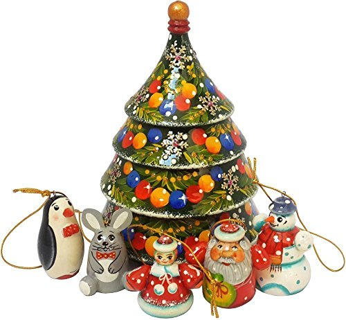 Christmas Tree Nesting Wooden Toy With Tiny Hanging Fairy Figurines – Christmas Tree Decoration – 6 pc Handmade Nativity Set – For Christmas Parties and Holiday Decor – 6″ Tall (6768)