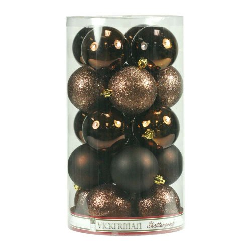 Vickerman Shatterproof Assorted Ball Ornaments Featuring Shiny, Matte, Sequin, and Glitter Finishes, 60 per Box, 2.4″, Chocolate