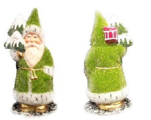 Ino Schaller Paper Mache Santa in Green Beaded Coat Christmas Candy Container