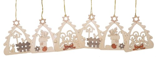 Christmas Tree Motif German Wooden Ornament Set of 6 Made in Germany Decorations