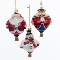 Kurt Adler Noble Gems Hot Air Balloon Ornament Set of 3