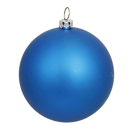 Vickerman 34890 – 4″ Blue Matte Ball Christmas Tree Ornament (6 pack) (N591002DMV)