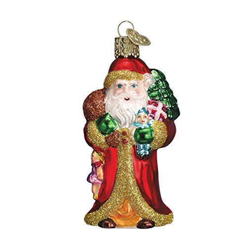Old World Christmas Father with Gifts Glass Blown Ornament