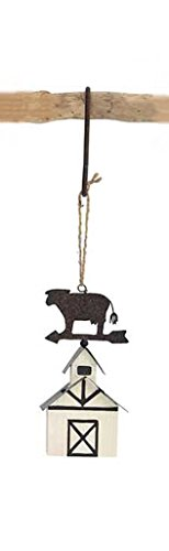 Cow Barn Metal Hanging Christmas Ornament