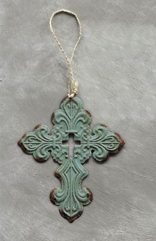Green Metal Cross Ornament