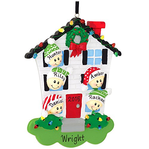 Personalized House With Family Of 5 Ornament