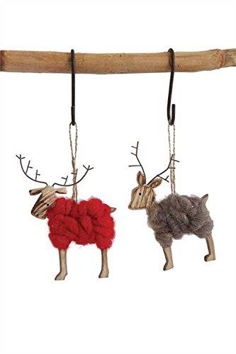 Reindeer Wool & Wood Hanging Christmas Ornament – Set of 2