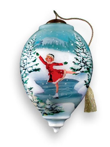 Skater'S Dream Hand Painted Glass Ornament