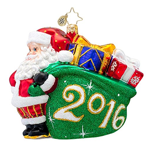 Christopher Radko A Jolly Year 2016 Dated Santa Christmas Ornament – EXCLUSIVE