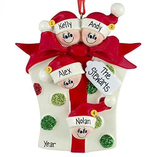 Gift Family of 4 Ornament Personalized Christmas Tree Ornament