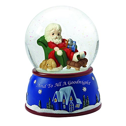 """Precious Moments, Christmas Gifts, """"Santa Sleeping In Recliner"""", Plays We Wish You A Merry Christmas, Musical Snow Globe, #161103"""