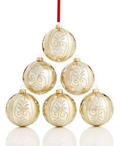 Holiday Lane Set of 6 Gold Shatterproof Ornaments