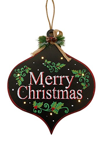 Light-Up Holiday Wooden Chalkboard Hanging Signs with Glitter Accents (Merry Christmas)