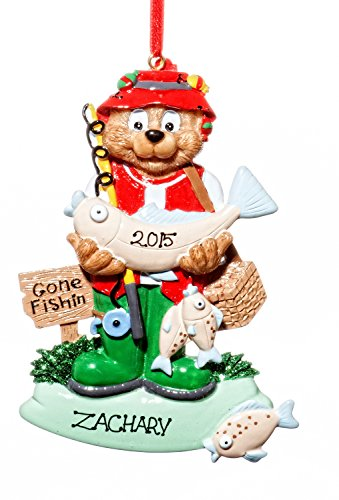 Sports Christmas Holiday Fisherman Ornament-Free Name Personalziation-Shipped In One Day
