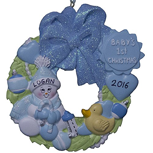 Personalized Baby`s Boy First Christmas Wreath Ornament