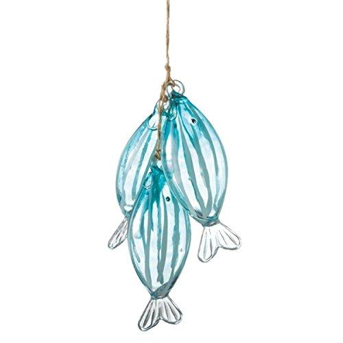 4.25″ Stringer of Blue Fish Glass Christmas Ornament