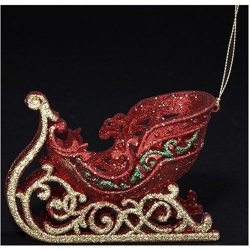 Kurt Adler Ornaments D0856 Glitter Sleigh Ornament