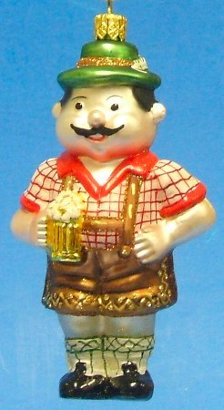 Bavarian Beer Man German Glass Christmas Ornament Decoration