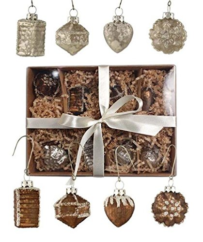 Bethany Lowe Christmas Elegance 8 Mini Mercury Glass Ornaments Bronze Pearl