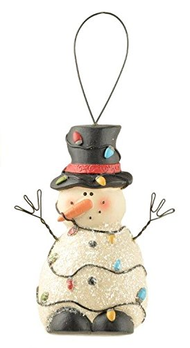 Blossom Bucket Snowman Ornament Wrapped In Lights
