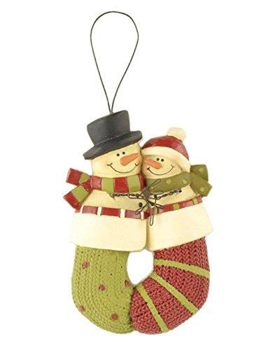 Blossom Bucket Snowman Couple in Stocking Ornament Christmas Decor, 5″ High