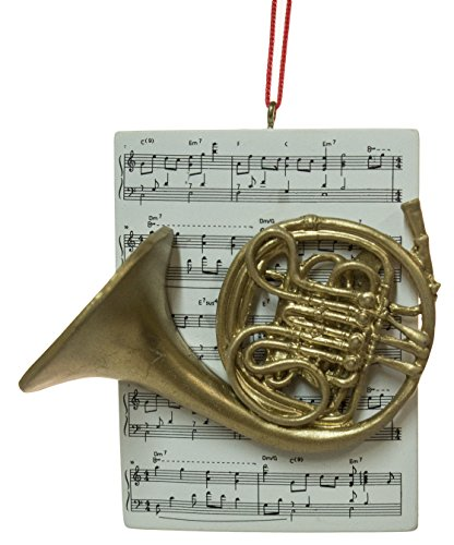 3″ Music Lovers Brass Instrument & Sheet Music Christmas Ornament (French Horn)
